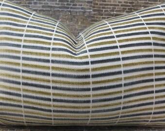 Designer Lumbar Pillow Cover lumbar, 16 x 16, 18 x 18, 20 x 20 - Sticks Chenille Gray & Tan