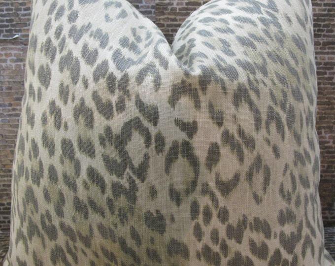 Designer Pillow Cover - Lumbar - Kravet Echo Bosana Flint Beige, Tan, Gray Leopard