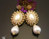 """Beadwork, bead embroidery, beaded 'Aleksandra"""" earrings from Classic colletion with seashell pearls, gold hematite, 24K goldfilled elements"""