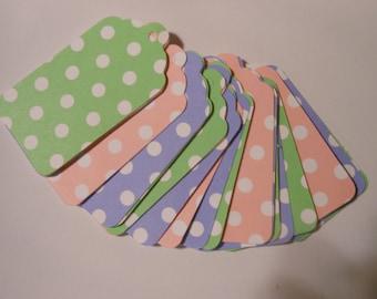 25 Count Pastel Polka Dot Scalloped Edge tags