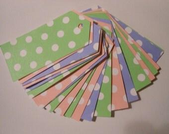 25 Count Pastel Polka Dot Straight Edge tags