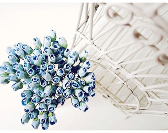 Mulberry Scrapbooking paper flower tiny baby blue Rose Buds for crafting, wedding decoration / pack
