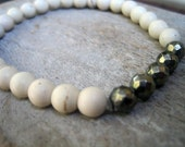 SALE White Turquoise Beads Sterling Pyrite Beads Beach Stretch Bracelet