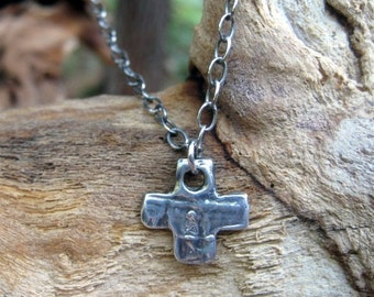 Rustic Artisan Cross Necklace on Sterling Silver textured Chain