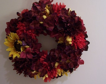 Plum, Burgundy, Red and Yellow Fall Floral Wicker Wreath - FREE SHIPPING!