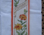 Flower October Cross Stitch Bookmark