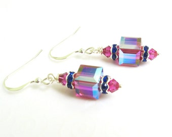 Fuchsia Pink Earrings, Fancy Crystal Cube Earrings, Swarovski Elements Crystal Jewelry, Wedding Jewelry, Bridal, Bridesmaids Gift