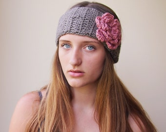 Headband Crochet PATTERN, woman headband,  woman earwarmer, flower headband, wedding, bridal, boho, DIY tutorial, PDF
