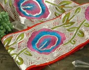 "Pink Plume Sparkle: Pink, Aqua, Green, Silver Sequin Floral Silk Trim / Ribbon / Sari Border / India, 3 5/8"" x 1 yard / Fresh Boho Supply"