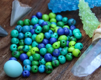 Tropical Tango: Real, Natural Acai Beads /South American Eco- Beads /10mm, 100 beads /Blue, Green, Round, Large Hole / Jewelry Making Supply