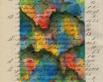 Page 47: original abstract ink painting on antique book page grey beige tan green blue yellow red orange