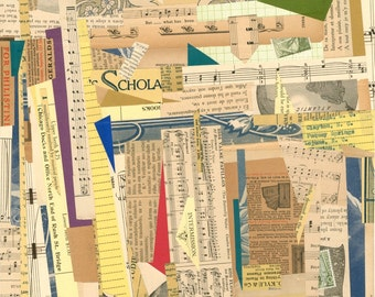 "Collage Four: Archival 11""x14"" PRINT of original collage with vintage papers book pages mixed media abstract modern art music type beige"