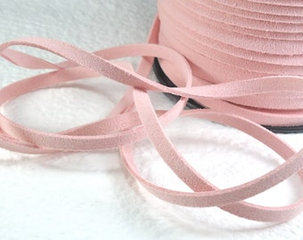6yds Faux Suede leather Micro Fiber Jewelry Cord Light Pink Lace 5mm x 1.5mm