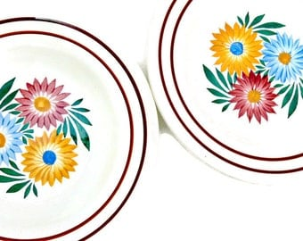 Antique Choisy le Roi Pottery Bowls - Set of 2 - Hand Painted French Ceramic Dinnerware