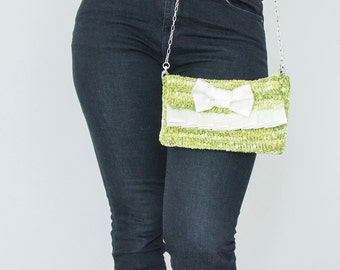 BAG // Green Clutch with satin bow and ruffles with removable light-wheight chain