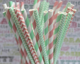 50 Mint and Blush Pink Party Straws, Pink and Mint Wedding Party Straws, Pink and Green Drinking Straws with Printable DIY Flag Template