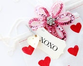 10 5x7 Hand Stamped Cotton Bags  - Valentine's Day Hearts XO - 25 color choices