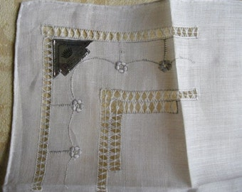 Vintage Handkerchief Wedding Hanky White and Silver - Imperial Openwork Design Hand Embroidered