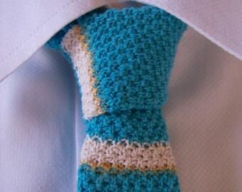Hand Knit Tie, Turquoise Tie, Knitted Tie, Skinny Tie, Striped Tie, Knit Necktie, Blue Tie, Cotton Tie, Retro Tie