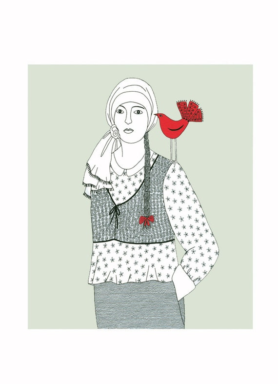 Pen and ink drawing, Woman with bird, Red bird drawing, Art illustration, Pale green art, Bird illustration, 10 x 8 print, Folk art,