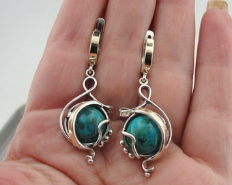 Woman 925 Sterling Silver 9K Yellow Gold turquoise stone. Gift for her. unique shape earrings (s e 2600)