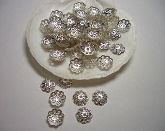 Bead caps 8mm, silver plated caps, filigree silver end caps, silver plated bead caps, 8mm findings, flower bead caps, silver caps