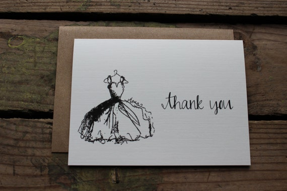 Bridal Shower, Wedding Dress Thank You Cards, Engagement or Party Cards, Neutral and Elegant, Set of 10