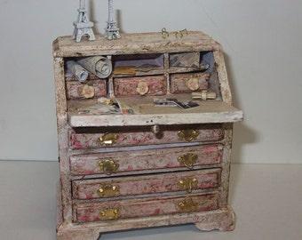 Dollhouse miniature vintage  desk scale 1/12