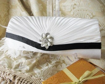 Satin Bridal Clutch, White Clutch,  Vintage Style Clutch, Wedding Accessory, Satin Clutch with Rhinestone Brooch