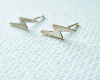 Lightning Bolt Studs - Lightning Bolt Earrings - Sterling Silver Lightning Bolt Studs