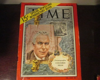 Collectible Time Magazine June 6, 1959 Oceanographer Columbus Iselin Cover Good - Very Good Condition Great Ads