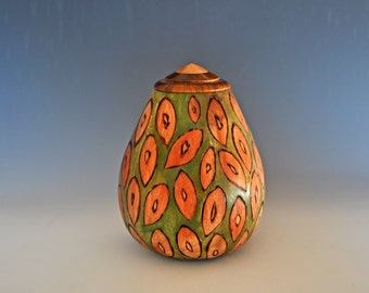 Artistically Decorated Container with Lignam Vitae Lid