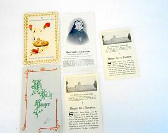 vintage religious saints cards Catholic holy cards Marie Sainte Cecile St Edwards Seminary Holy Land flowers