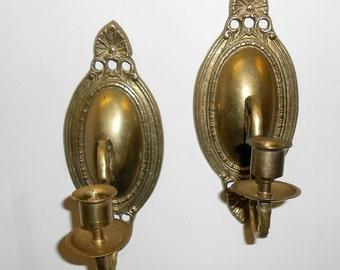 Vintage brass candle sconce cast brass candelabra ornate brass sconce candle holders French brass candelabra sconce wall mount candle holder
