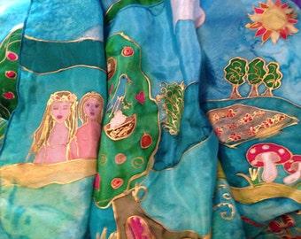 Handpainted Silk 'The Garden of Eden' by The Silk Maid