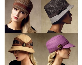 Womens Hat Pattern Uncut Vogue V8941 Equestrian Riding Helmet Cloche Visor Brim Bucket Beanie Baseball Cap Wool Day Evening Sewing Patterns