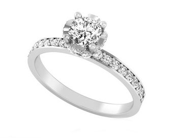Diamond Solitaire Ring, 14K  White Gold Ring, Solitaire Diamond Engagement Ring, Certified Round Diamond, Solitaire Ring, By Tempting Jewels
