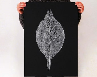 Skeleton Leaf Print.,  50 x 70 cm, screen print poster, hand made print,leaf print,modern print,black white art, wall art,minimalist floral