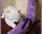 Custom RESERVE listing for Michiruka, Belt loop straight tail, long fur, in lavender and purples