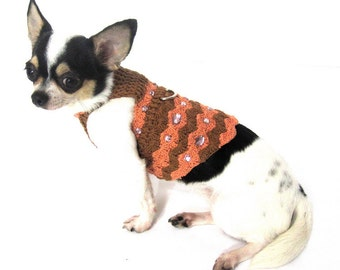 Rustic Dog Clothes with Crystal Rhinestones Fashion Puppy Sweaters Personalized Dog Collars Crochet by Myknitt  DK922 Free Shipping