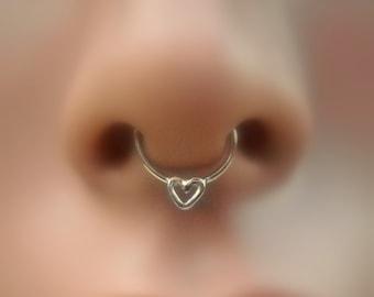 Septum Ring - Heart Septum Nose Ring - Sterling Silver Septum - Septum Piercing - Septum Jewelry