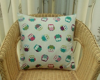 Owl pillow cover - bird pillow cover - owl cushion cover - owl decor - teal mauve pink cushion cover - red white and blue pillow cover