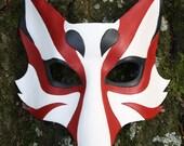 Kabuki  Kitsune Fox Leather Mask Made to Order Great for Halloween Burning Man Masquerade Costume LARP Cosplay Dragon con