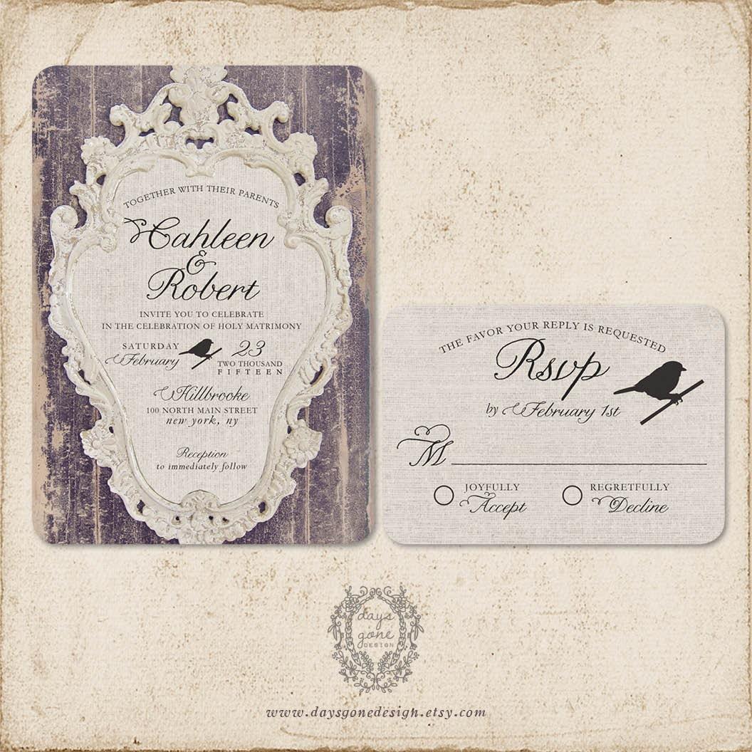French Vintage Wedding Invitations: French Weathered Elegance Wedding Invitations Vintage