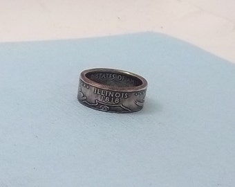Copper-Nickel coin ring Illinois State quarter year 2003 size 7 1/2,  jewelry unique  gift FREE SHIPPING
