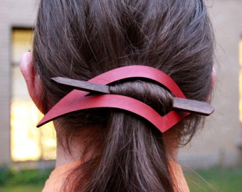 Claw-Shaped Leather Barrette