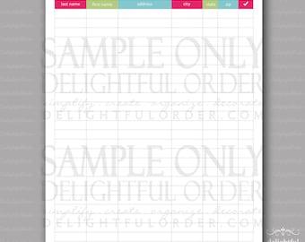 Christmas Card Address List -  PDF Printable File - Instant Digital Download