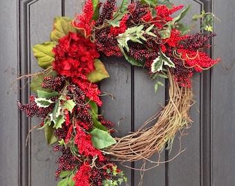 Christmas Wreath Winter Wreath Red Berry Twig Grapevine Door Wreath Decor Year Round Red Hydrangea Floral Door Decor Indoor Outdoor