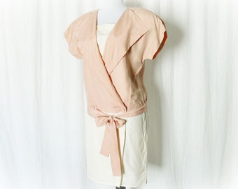 Vintage 80s does 20s Wrap Mini Dress M Pink Cream Silk Hip Sash Bow Shift Dropwaist Upcycled