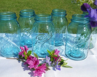 REDUCED-6 Vintage Blue Ball Perfect Mason quart canning jars -wedding vases-crafts-storage